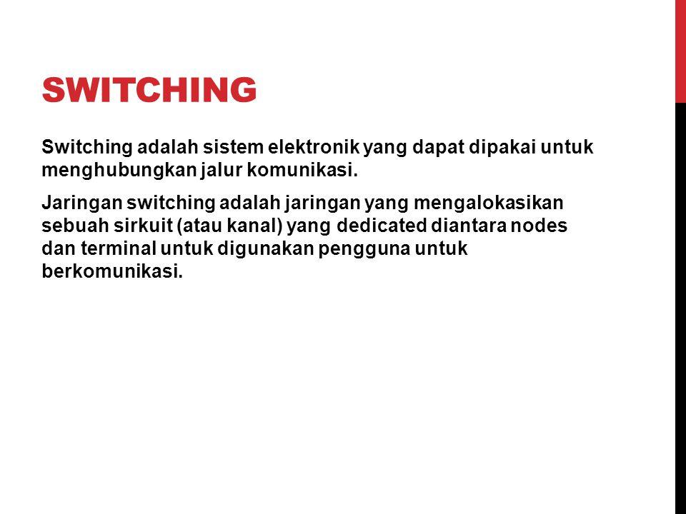 SWITCHING Switching adalah sistem elektronik yang dapat dipakai untuk menghubungkan jalur komunikasi. Jaringan switching adalah jaringan yang mengalok