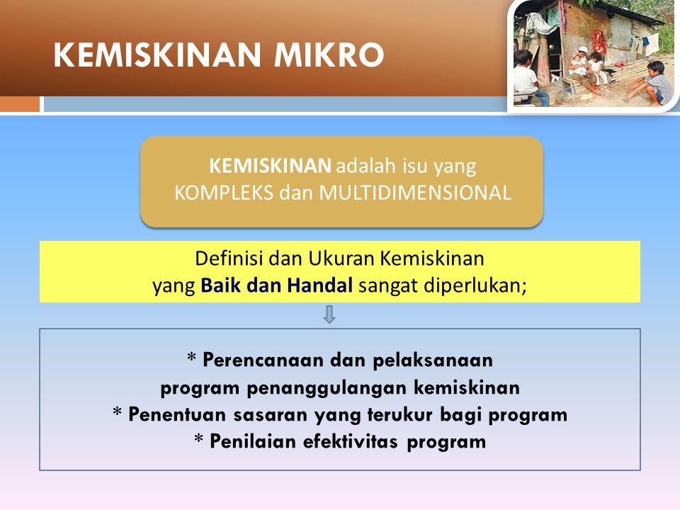 Definisi dan Ukuran Kemiskinan yang Baik dan Handal sangat diperlukan; * Perencanaan dan pelaksanaan program penanggulangan kemiskinan * Penentuan sasaran yang terukur bagi program * Penilaian efektivitas program KEMISKINAN adalah isu yang KOMPLEKS dan MULTIDIMENSIONAL KEMISKINAN MIKRO