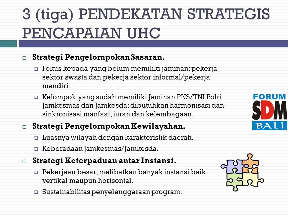 3 (tiga) PENDEKATAN STRATEGIS PENCAPAIAN UHC  Strategi Pengelompokan Sasaran.