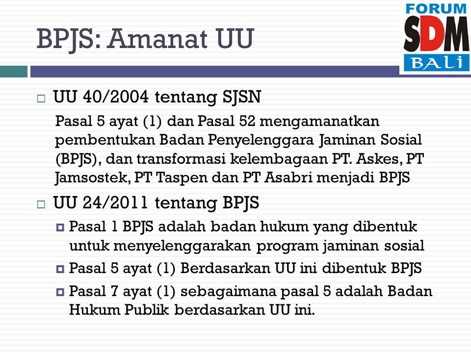 BPJS: Amanat UU  UU 40/2004 tentang SJSN Pasal 5 ayat (1) dan Pasal 52 mengamanatkan pembentukan Badan Penyelenggara Jaminan Sosial (BPJS), dan transformasi kelembagaan PT.