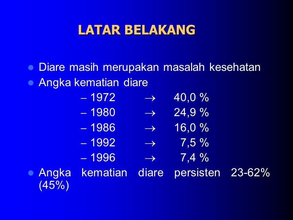 LATAR BELAKANG Diare masih merupakan masalah kesehatan Angka kematian diare – 1972  40,0 % – 1980  24,9 % – 1986  16,0 % – 1992  7,5 % – 1996  7,