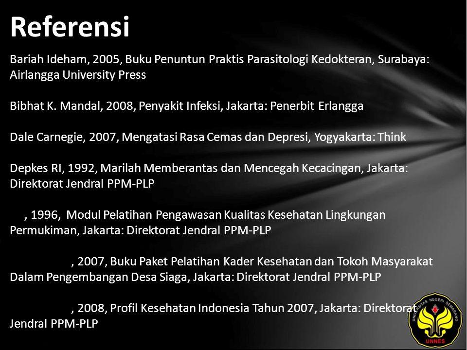 Referensi Bariah Ideham, 2005, Buku Penuntun Praktis Parasitologi Kedokteran, Surabaya: Airlangga University Press Bibhat K. Mandal, 2008, Penyakit In