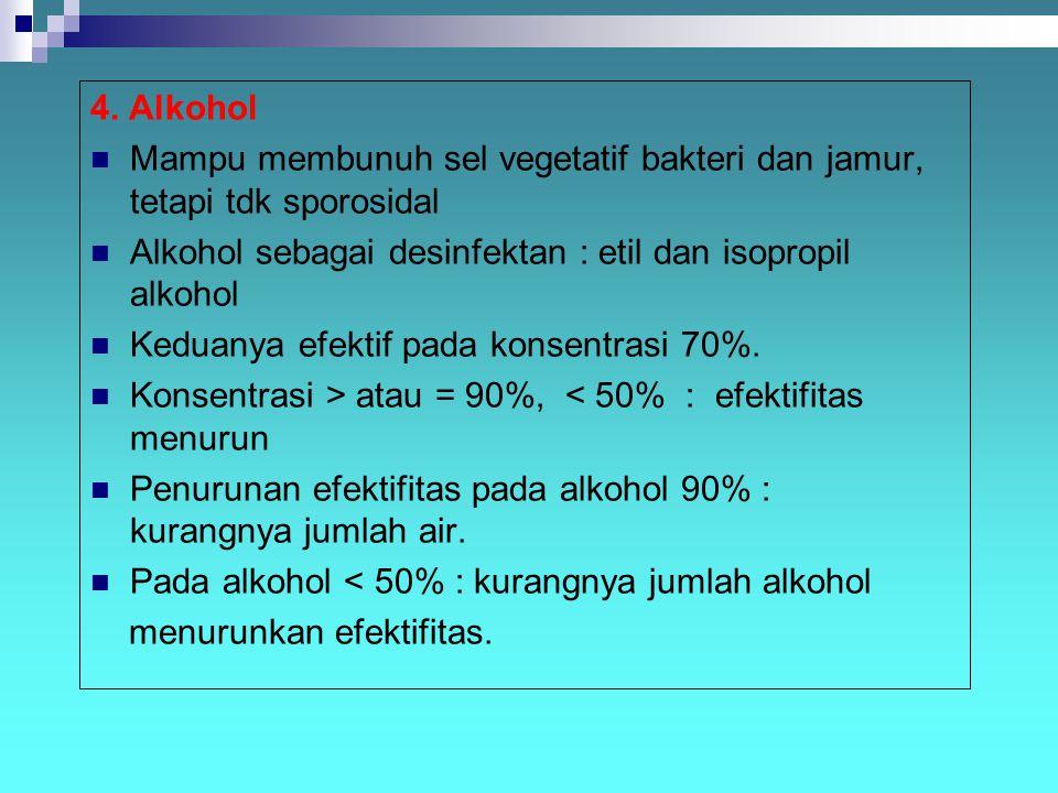 4. Alkohol Mampu membunuh sel vegetatif bakteri dan jamur, tetapi tdk sporosidal Alkohol sebagai desinfektan : etil dan isopropil alkohol Keduanya efe