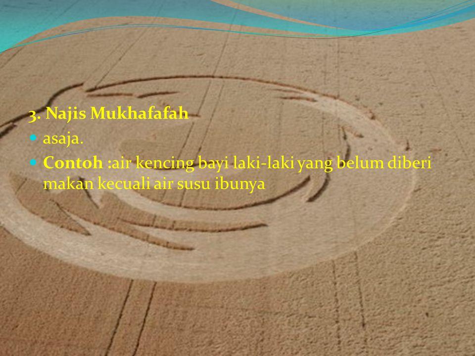 Macam-Macam Najis 1. Najis Mughaladlah Najis mughaladah adalah najis berat yang cara membersihkannya adalah dengan cara diusap dengan tanah, kemudian