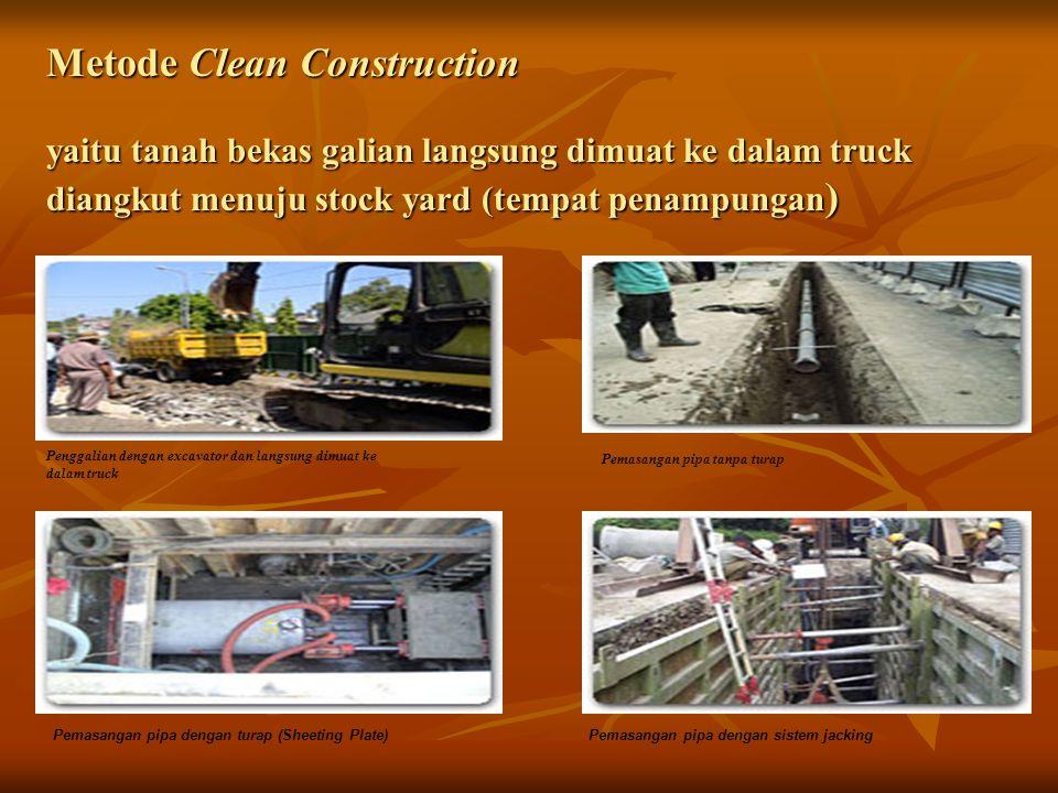 Metode Clean Construction yaitu tanah bekas galian langsung dimuat ke dalam truck diangkut menuju stock yard (tempat penampungan ) Penggalian dengan e
