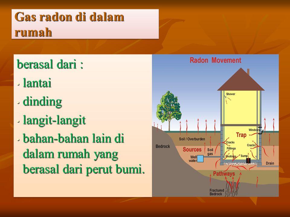 Gas radon di dalam rumah berasal dari : lantai lantai dinding dinding langit-langit langit-langit bahan-bahan lain di dalam rumah yang berasal dari pe