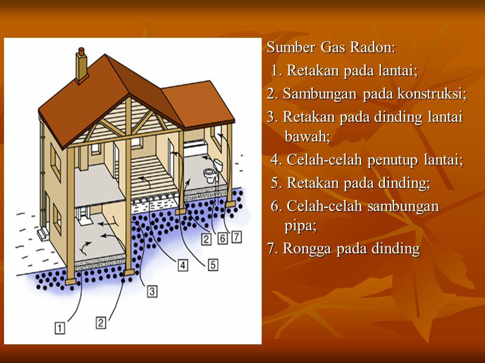 Sumber Gas Radon: 1. Retakan pada lantai; 1. Retakan pada lantai; 2. Sambungan pada konstruksi; 3. Retakan pada dinding lantai bawah; 4. Celah-celah p