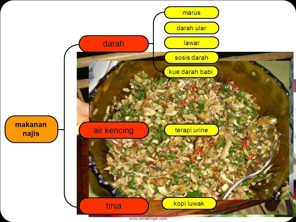 www.rumahfiqih.com darah air kencing makanan najis tinja marus darah ular lawar sosis darah terapi urine kue darah babi kopi luwak