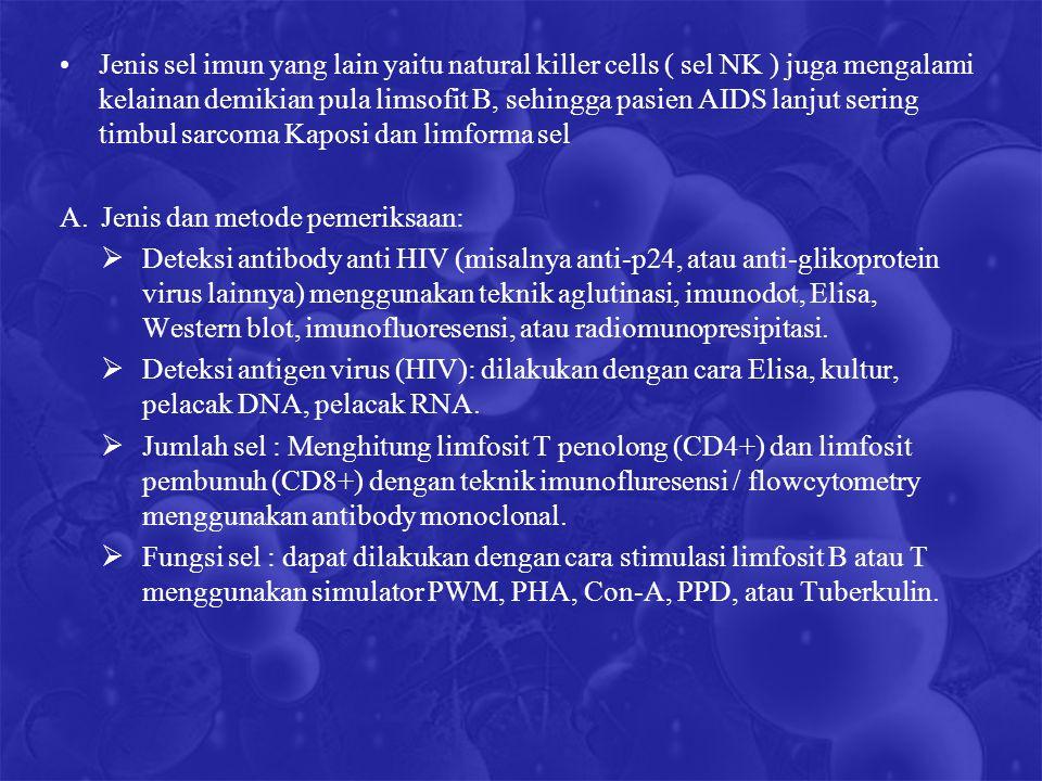 Jenis sel imun yang lain yaitu natural killer cells ( sel NK ) juga mengalami kelainan demikian pula limsofit B, sehingga pasien AIDS lanjut sering ti