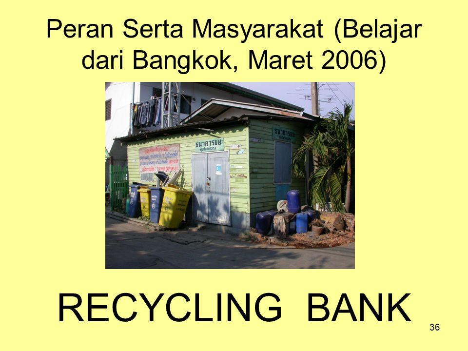 36 Peran Serta Masyarakat (Belajar dari Bangkok, Maret 2006) RECYCLING BANK