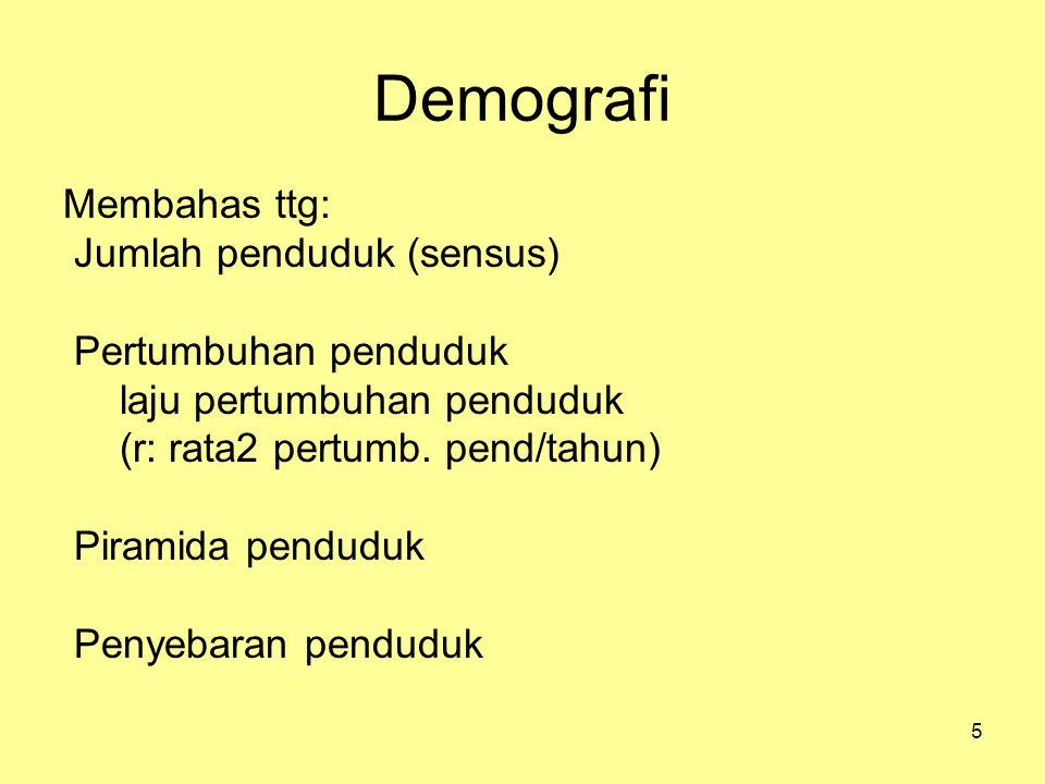5 Demografi Membahas ttg: Jumlah penduduk (sensus) Pertumbuhan penduduk laju pertumbuhan penduduk (r: rata2 pertumb. pend/tahun) Piramida penduduk Pen