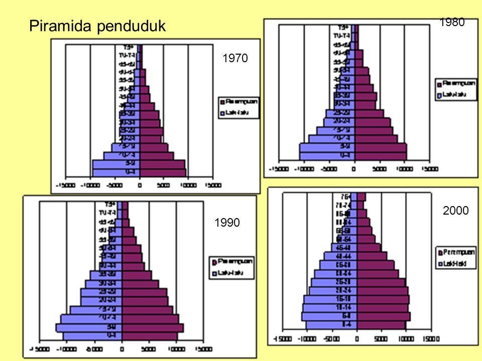 Pertumbuhan penduduk Rumus pertumbuhan geometrik, angka pertumbuhan penduduk ( rate of growth atau r ) sama untuk setiap tahun, rumusnya: P t = P 0 (1+r) t Dimana P 0 adalah jumlah penduduk awal P t adalah jumlah penduduk t tahun kemudian r adalah tingkat pertumbuhan penduduk t adalah jumlah tahun dari 0 ke t.