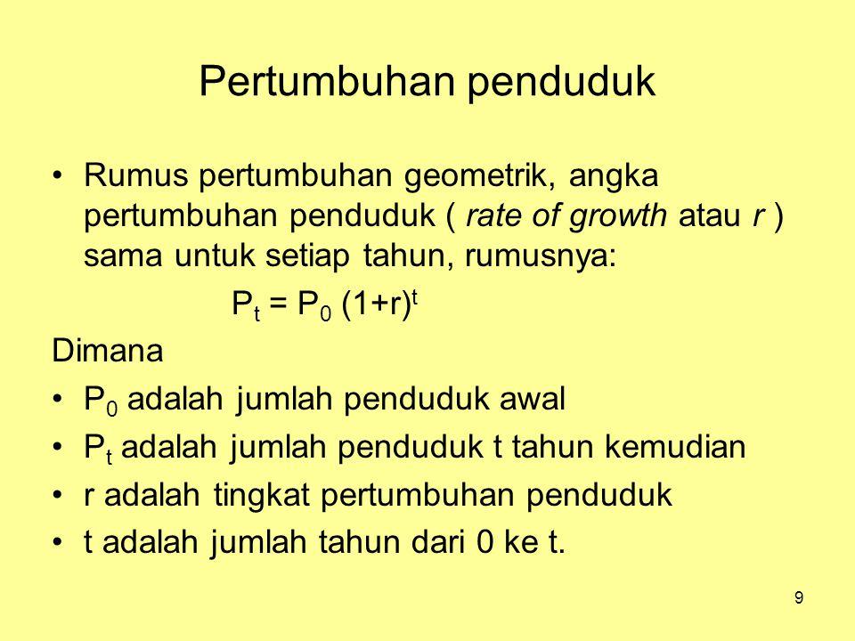 Pertumbuhan penduduk Rumus pertumbuhan geometrik, angka pertumbuhan penduduk ( rate of growth atau r ) sama untuk setiap tahun, rumusnya: P t = P 0 (1