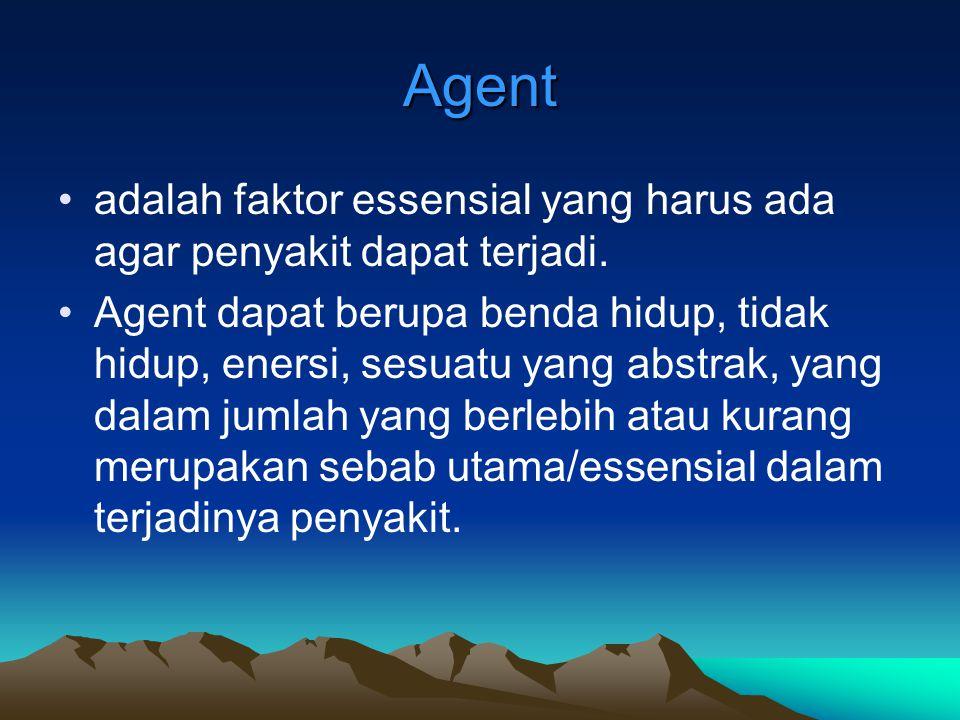 Agent adalah faktor essensial yang harus ada agar penyakit dapat terjadi. Agent dapat berupa benda hidup, tidak hidup, enersi, sesuatu yang abstrak, y