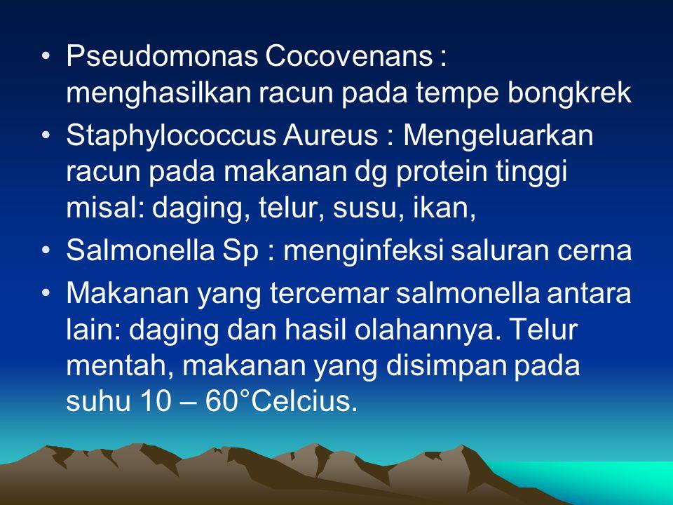 Pseudomonas Cocovenans : menghasilkan racun pada tempe bongkrek Staphylococcus Aureus : Mengeluarkan racun pada makanan dg protein tinggi misal: dagin