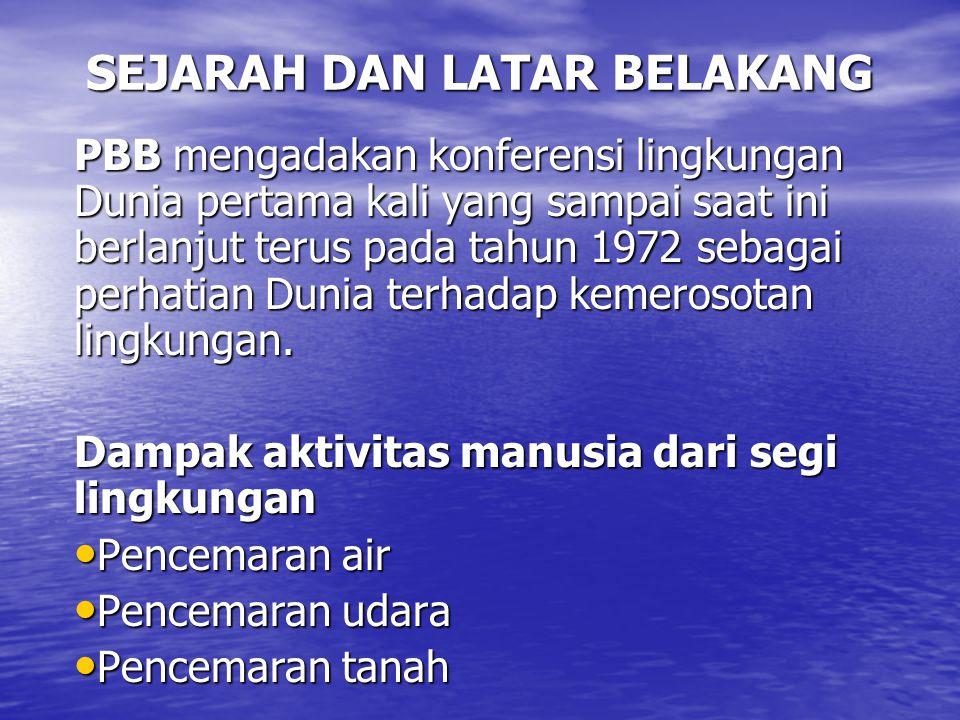 SEJARAH DAN LATAR BELAKANG PBB mengadakan konferensi lingkungan Dunia pertama kali yang sampai saat ini berlanjut terus pada tahun 1972 sebagai perhat