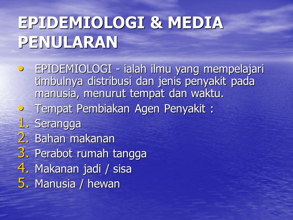 EPIDEMIOLOGI & MEDIA PENULARAN EPIDEMIOLOGI - ialah ilmu yang mempelajari timbulnya distribusi dan jenis penyakit pada manusia, menurut tempat dan wak