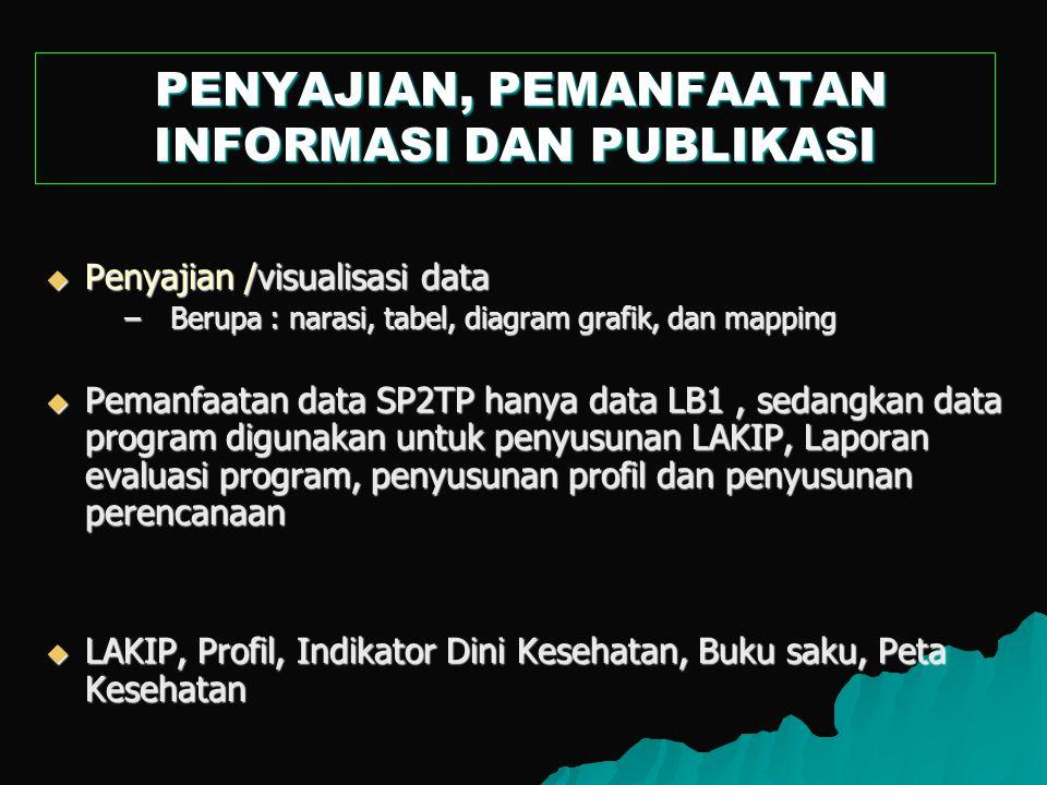  Penyajian /visualisasi data –Berupa : narasi, tabel, diagram grafik, dan mapping  Pemanfaatan data SP2TP hanya data LB1, sedangkan data program dig