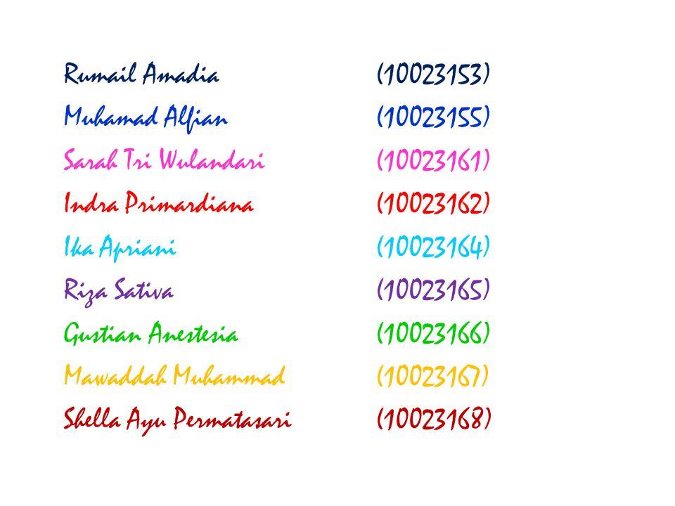 Rumail Amadia(10023153) Muhamad Alfian(10023155) Sarah Tri Wulandari(10023161) Indra Primardiana(10023162) Ika Apriani(10023164) Riza Sativa(10023165)