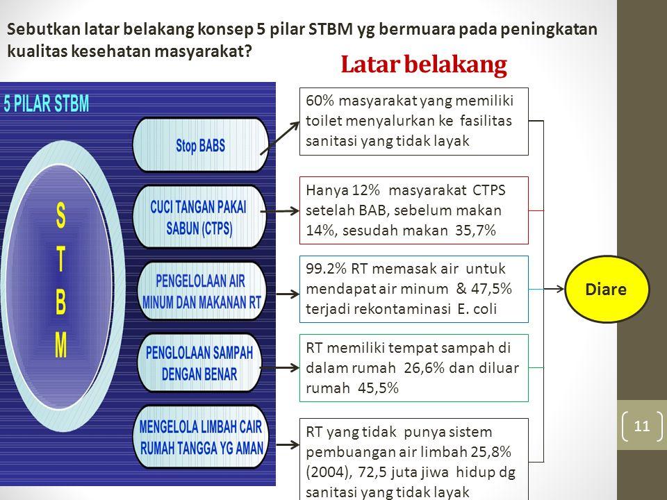 Latar belakang 11 60% masyarakat yang memiliki toilet menyalurkan ke fasilitas sanitasi yang tidak layak Hanya 12% masyarakat CTPS setelah BAB, sebelum makan 14%, sesudah makan 35,7% 99.2% RT memasak air untuk mendapat air minum & 47,5% terjadi rekontaminasi E.