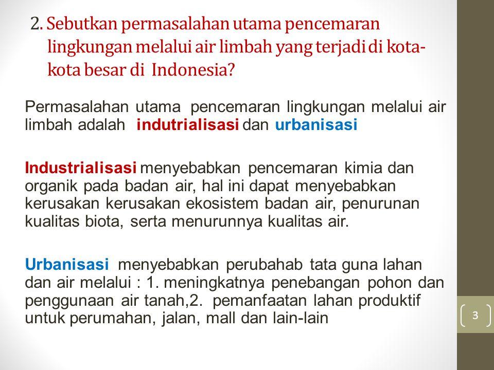 2. Sebutkan permasalahan utama pencemaran lingkungan melalui air limbah yang terjadi di kota- kota besar di Indonesia? Permasalahan utama pencemaran l
