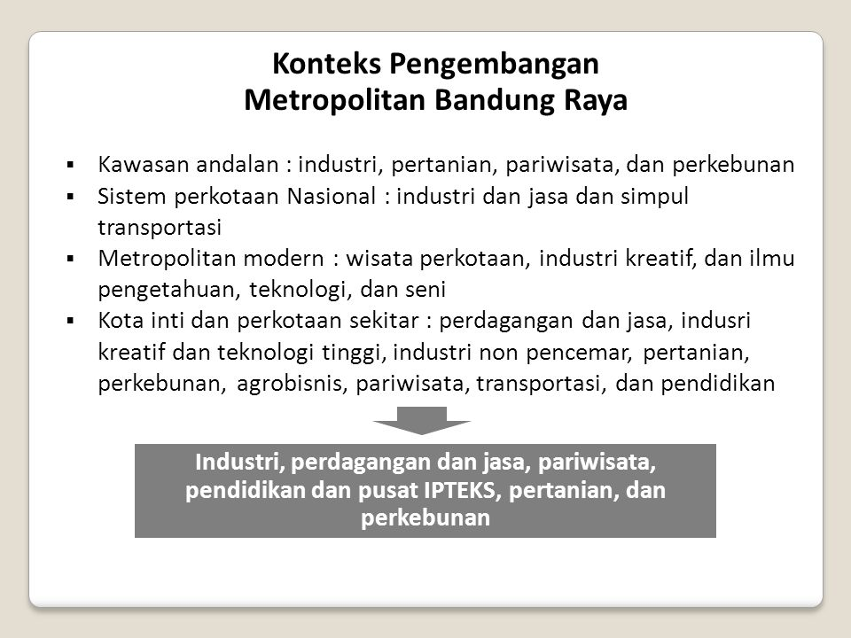Konteks Pengembangan Metropolitan Bandung Raya  Kawasan andalan : industri, pertanian, pariwisata, dan perkebunan  Sistem perkotaan Nasional : indus