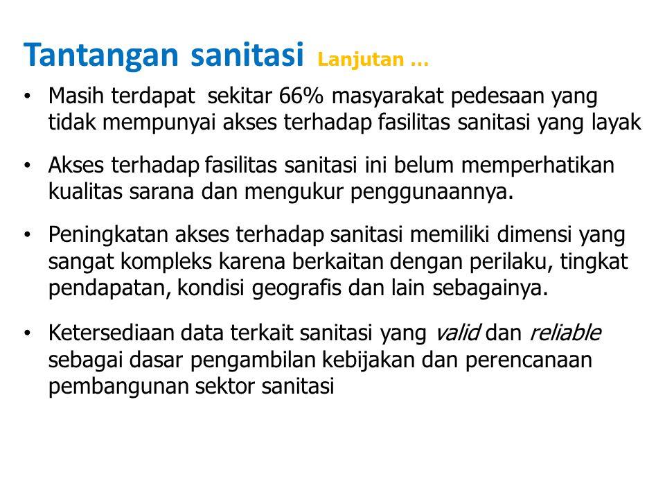 Tantangan sanitasi Lanjutan … Masih terdapat sekitar 66% masyarakat pedesaan yang tidak mempunyai akses terhadap fasilitas sanitasi yang layak Akses t
