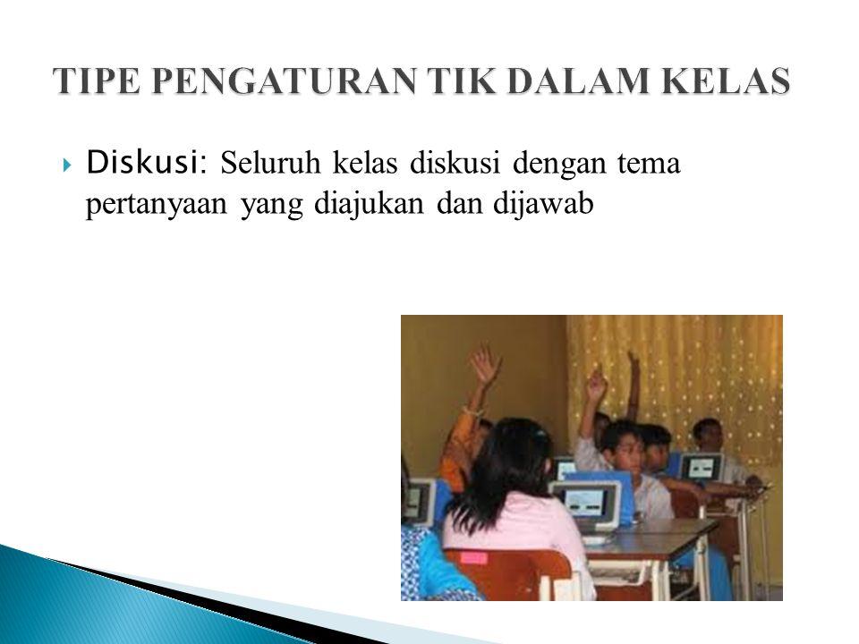  Diskusi: Seluruh kelas diskusi dengan tema pertanyaan yang diajukan dan dijawab
