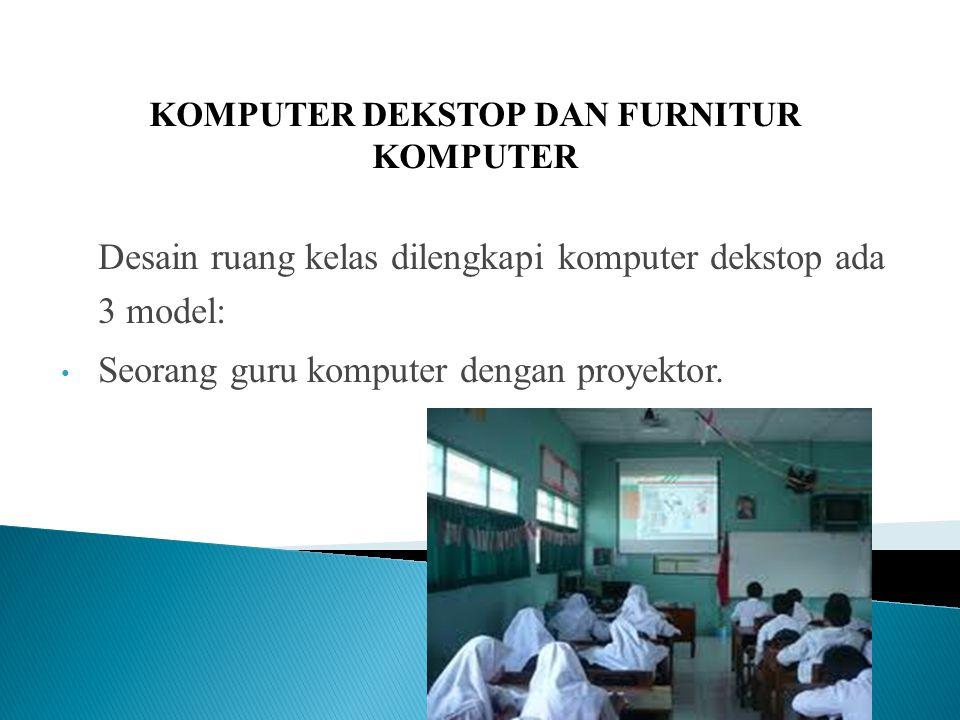 Desain ruang kelas dilengkapi komputer dekstop ada 3 model: Seorang guru komputer dengan proyektor.
