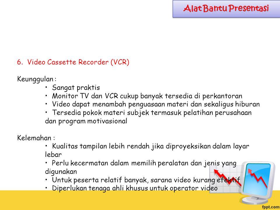 6. Video Cassette Recorder (VCR) Keunggulan : Sangat praktis Monitor TV dan VCR cukup banyak tersedia di perkantoran Video dapat menambah penguasaan m