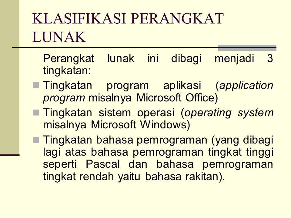 PERANGKAT LUNAK KOMPUTER PENGERTIAN Perangkat lunak atau piranti lunak adalah program komputer yang berfungsi sebagai sarana interaksi antara pengguna dan perangkat keras.