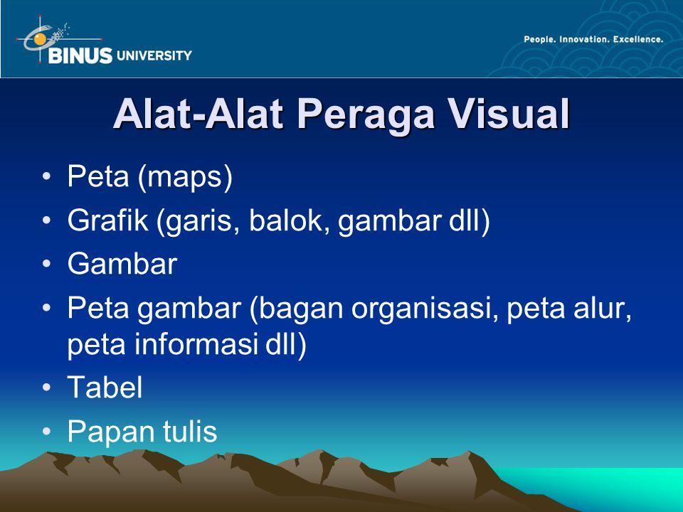 Alat-Alat Peraga Visual Peta (maps) Grafik (garis, balok, gambar dll) Gambar Peta gambar (bagan organisasi, peta alur, peta informasi dll) Tabel Papan