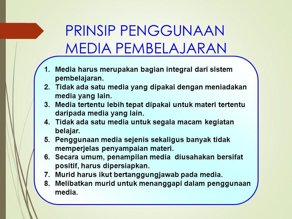PRINSIP PENGGUNAAN MEDIA PEMBELAJARAN 1.Media harus merupakan bagian integral dari sistem pembelajaran. 2.Tidak ada satu media yang dipakai dengan men