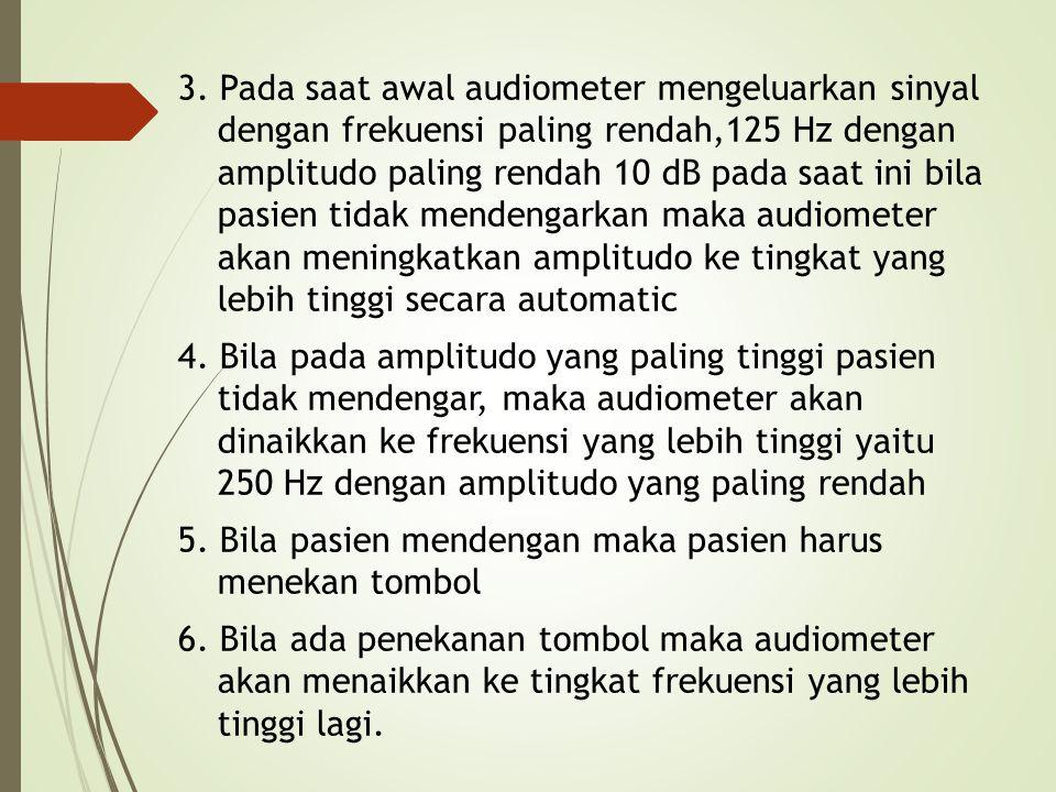 3. Pada saat awal audiometer mengeluarkan sinyal dengan frekuensi paling rendah,125 Hz dengan amplitudo paling rendah 10 dB pada saat ini bila pasien