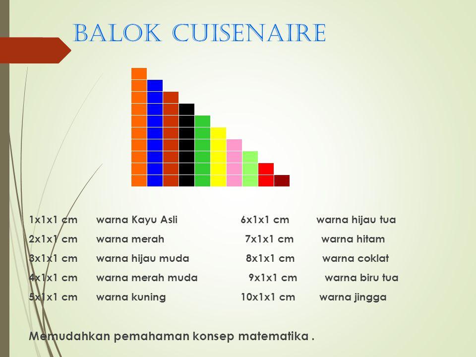 Balok cuisenaire 1x1x1 cm warna Kayu Asli 6x1x1 cm warna hijau tua 2x1x1 cm warna merah 7x1x1 cm warna hitam 3x1x1 cm warna hijau muda 8x1x1 cm warna