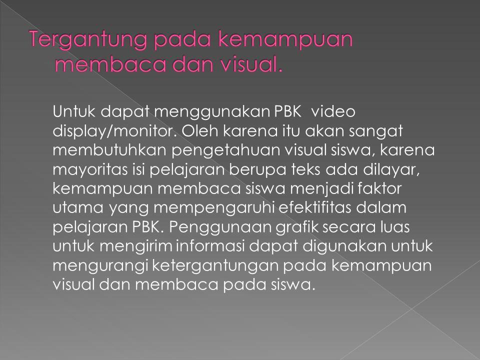 Untuk dapat menggunakan PBK video display/monitor.