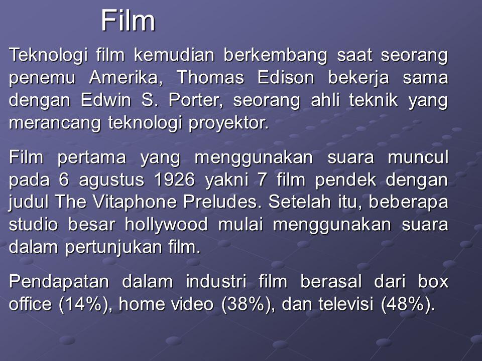 Teknologi film kemudian berkembang saat seorang penemu Amerika, Thomas Edison bekerja sama dengan Edwin S.