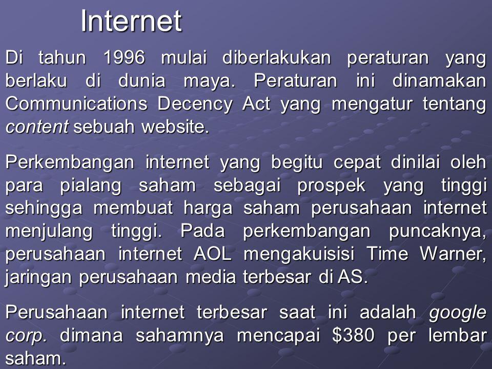 Di tahun 1996 mulai diberlakukan peraturan yang berlaku di dunia maya.