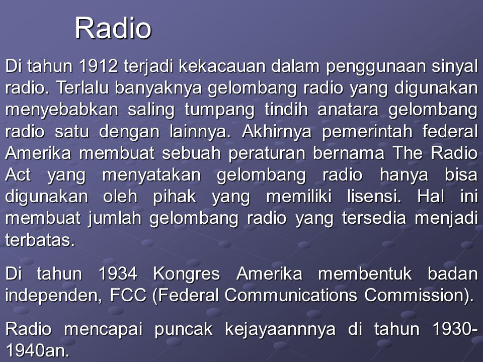 Di tahun 1912 terjadi kekacauan dalam penggunaan sinyal radio.