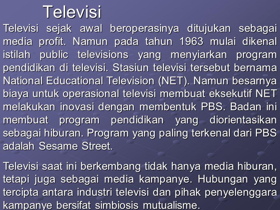 Televisi sejak awal beroperasinya ditujukan sebagai media profit.