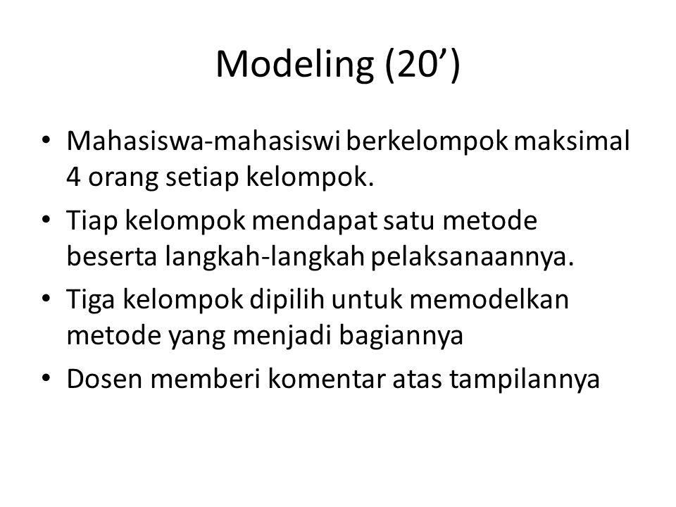 Modeling (20') Mahasiswa-mahasiswi berkelompok maksimal 4 orang setiap kelompok. Tiap kelompok mendapat satu metode beserta langkah-langkah pelaksanaa