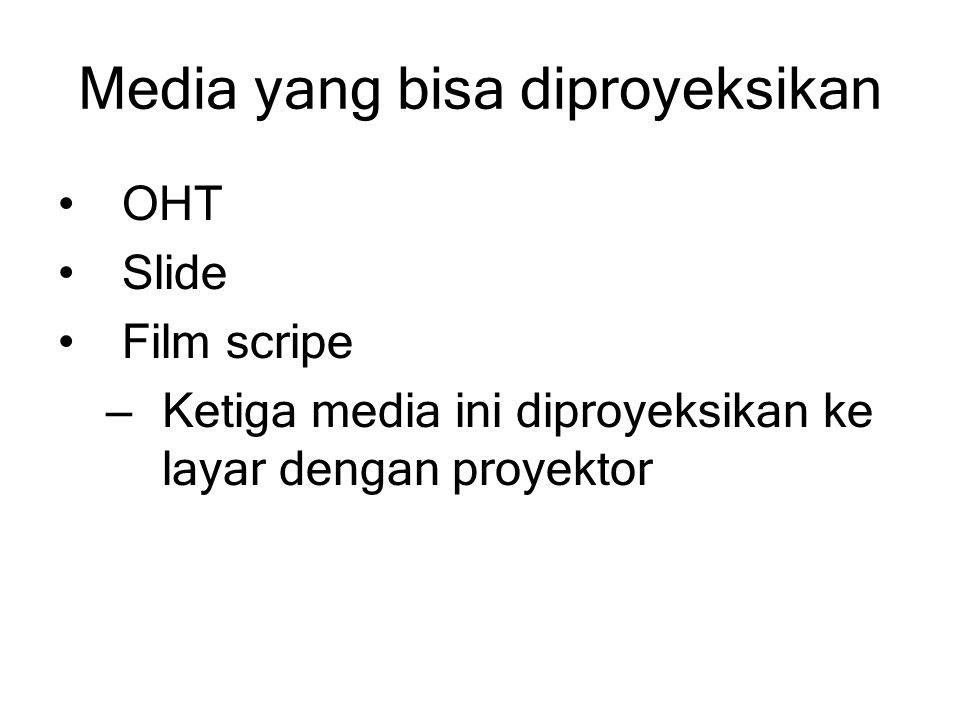 Media yang bisa diproyeksikan OHT Slide Film scripe – Ketiga media ini diproyeksikan ke layar dengan proyektor