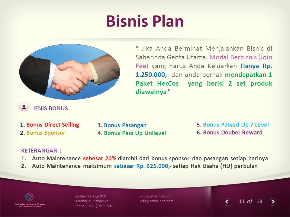 """11 of 13 www.saharinda.com info@saharinda.com Gentan Pelangi B10, Sukoharjo, Indonesia Phone (0271) 7650 910 Bisnis Plan """" Jika Anda Berminat Menjalan"""