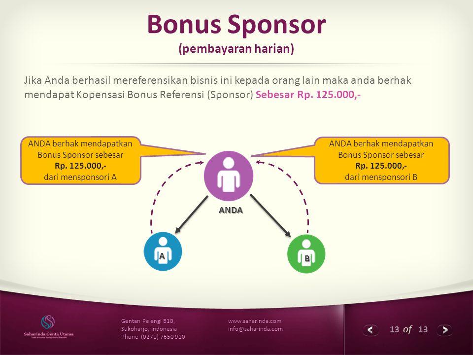 13 of 13 www.saharinda.com info@saharinda.com Gentan Pelangi B10, Sukoharjo, Indonesia Phone (0271) 7650 910 Bonus Sponsor (pembayaran harian) Jika An