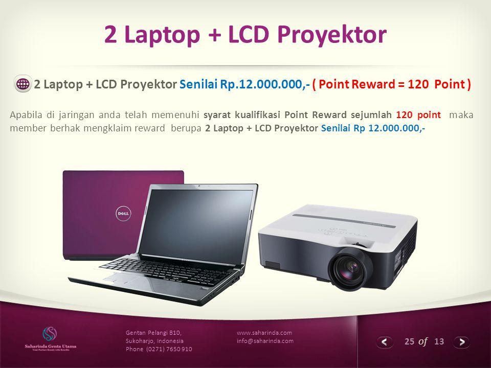 25 of 13 www.saharinda.com info@saharinda.com Gentan Pelangi B10, Sukoharjo, Indonesia Phone (0271) 7650 910 2 Laptop + LCD Proyektor 2 Laptop + LCD P
