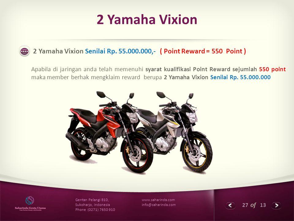 27 of 13 www.saharinda.com info@saharinda.com Gentan Pelangi B10, Sukoharjo, Indonesia Phone (0271) 7650 910 2 Yamaha Vixion 2 Yamaha Vixion Senilai R