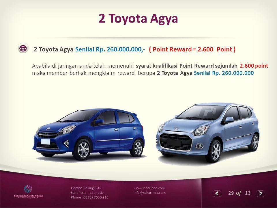 29 of 13 www.saharinda.com info@saharinda.com Gentan Pelangi B10, Sukoharjo, Indonesia Phone (0271) 7650 910 2 Toyota Agya 2 Toyota Agya Senilai Rp. 2