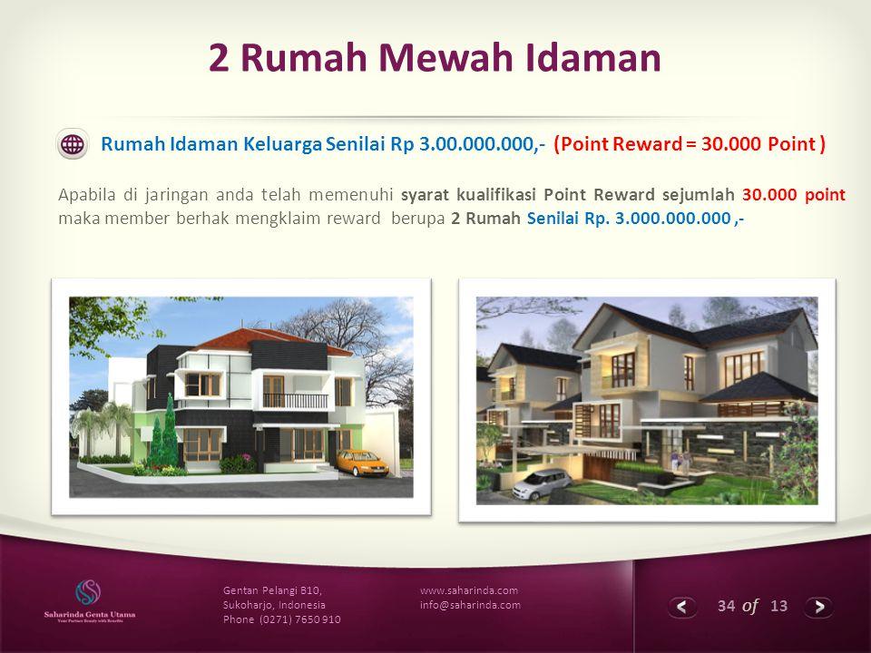 34 of 13 www.saharinda.com info@saharinda.com Gentan Pelangi B10, Sukoharjo, Indonesia Phone (0271) 7650 910 2 Rumah Mewah Idaman Rumah Idaman Keluarg