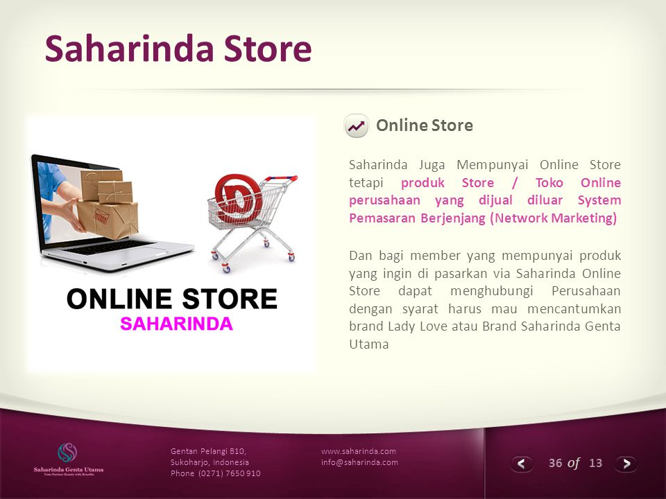 36 of 13 www.saharinda.com info@saharinda.com Gentan Pelangi B10, Sukoharjo, Indonesia Phone (0271) 7650 910 Saharinda Store Online Store Saharinda Ju