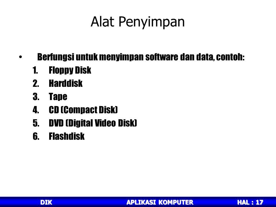 HAL : 17 DIKAPLIKASI KOMPUTER Alat Penyimpan Berfungsi untuk menyimpan software dan data, contoh: 1.Floppy Disk 2.Harddisk 3.Tape 4.CD (Compact Disk) 5.DVD (Digital Video Disk) 6.Flashdisk